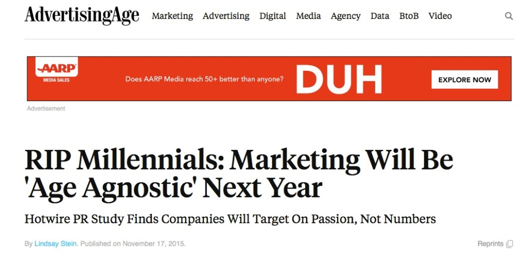 Ad Age headline on the end of millennial marketing