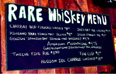 Snakepit Whiskey Menu