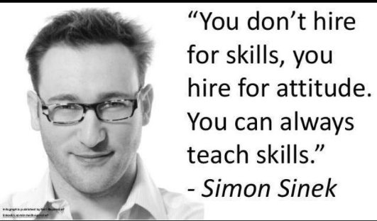 Simon Sinek quote on skills and attitude